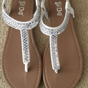 White Sandals with Diamond Rhinestones